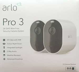 Arlo Pro 3 - 2K QHD Wireless 2 Camera Security System with Colour Night Vision