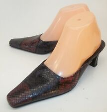 Via Spiga Womens Shoes Mules Heels US7M Multi-color Snake Emboss Leather Italy