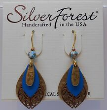 Silver Forest Beautiful Blue 4 Layer 4 Color Tone & Filigree Hook Earrings USA