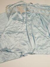 Vintage 50's Vanity Fair Nylon Soft Blue Lace Bow Pajama lounge Set Size Medium