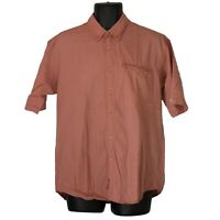 Mens Columbia Orange Checkered Oxford Short Sleeve Button Down Shirt Size M