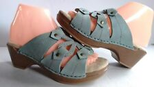 $60 New Björndal Doughton 7 Blue Leather Clogs Wedge Women Comfy Insole Sandals