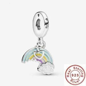 💖 Genuine 925 Sterling Silver  Rainbow & Cloud Love Heart Dangle Charm Gift 💖