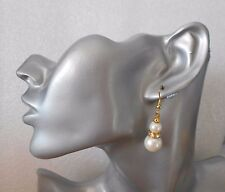 Glass pearl gold earrings graduated design -  bridesmaid party prom