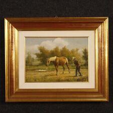Dipinto paesaggio firmato quadro olio su tavola con cornice dorata cavallo