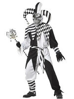 Men's Evil Psycho Jester Nobody's Fool Scary Sinister Adult Halloween Costume