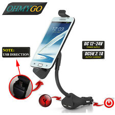 Car Phone Holder Mount Stand with Dual USB Charger For Universal Smart Phones