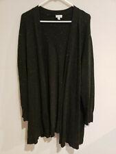 Women's 26/28 AVENUE open front wrap style Black sweater: long sleeves