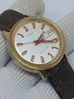 Vintage Timex Sportster Marlin Mens Watch Red Gold Mechanical CROCODILE BAND