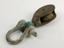 Vintage Solid Brass Small Sailing Block & Tackle Pulley Nautical Single Wheel