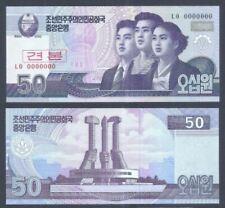 Korea Banknote Specimen 50 Won 2002 (UNC) 全新 朝鲜 50元样钞 号码全为0