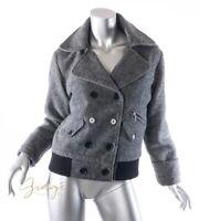 C C Filson Size S Gray Black Cropped Wool Bomber Jacket Peacoat