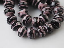 10ps Purple/Black Glass Stripe Lampwork Beads Spacer Craft Jewelry Findings 12mm