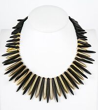 Kenneth Jay Lane satin gold/black spike necklace 18.5""