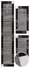 Bettumrandung Bettvorleger Bordürenteppich Kurzflor Schlafzimmer Läuferset Grau