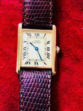 Mens Must de Cartier Tank Vermeil Quartz Gold original Band & Buckle
