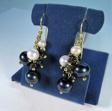 BLACK/WHITE PEARL & SPINEL EARRINGS - 14k YELLOW GOLD-plated 925 STERLING SILVER