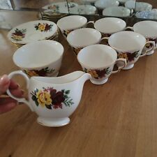 More details for queen anne bone china yellow roses pattern part tea set 21 pieces 676