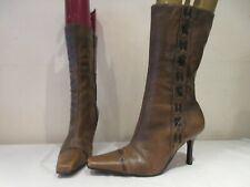 RIVER ISLAND BROWN LEATHER MID CALF HIGH HEEL BOOTS UK 6 EU 36 (3194)