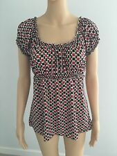 Studio M Red White Black Patterned Short Sleeve Shirt Top Blouse Size L