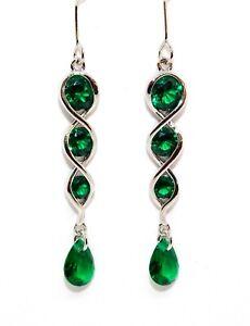 Sterling Silver Emerald 5.9ct Drop Earrings