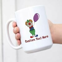 Ceramic Custom Latte Coffee Mug Cup Clown with Balloon Funny & Novelty Tea Cup