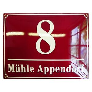 Personalised enamel address plaque 30x40cm WARRANTY 10y house sign number