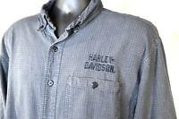 HARLEY DAVIDSON Men's Size L Tall Iron Gray Long Sleeve Embroidered HD Shirt