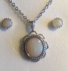 Opal Pendant & Earrings - Sterling Silver-Solid Natural Opals - Selling as a Set