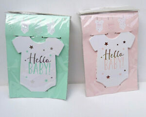 3m ROMPER SUIT BUNTING +MINI PEGS Hello Baby SHOWER BIRTH PARTY Pink Mint STARS