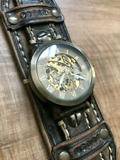 Handmade Leather Steampunk Kinetic Wrist Watch