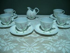 E B Foley Mid Century Demitasse Coffee Set For 6 With Creamer - Floral - Vgc