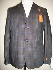 NEW NWT Men's TALLIA Slim Fit Gray/Purple Wool Plaid Suit Jacket Coat Blazer 40S
