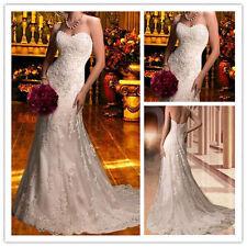Mermaid White/Ivory Wedding Dress Formal Bride Dress Bridal Gown Stock Size 6-16