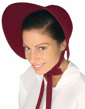 Amish Mennonite Puritan Burgundy Felt Bonnet Costume Hat