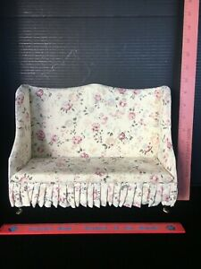 DOLL, LARGE SIZE VICTORIAN WING BACK SOFA, WITH ORNATE CHAIR LEGS