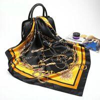100%  Pure Silk Satin Scarf Women Neck Shawl Wrap Large gold black red blue