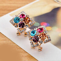 Fashion Charm Women Girls Rhinestone Crystal Square Ear Stud Earrings Jewelry