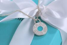 """Tiffany & Co Sterling Silver 1837 Round Circle Blue Enamel Charm Necklace 16"""""""