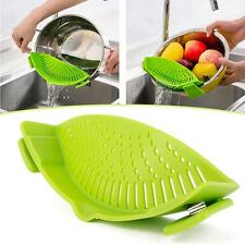 US Kitchen Silicone Food Pan Clip-On Snap Strainer Clip Colander Liquid Separate