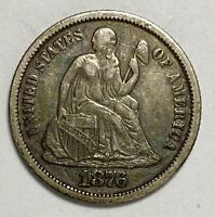 1876 Seated Liberty Dime 10¢ 0.900 Silver Full Liberty Circulated Coin (3459)