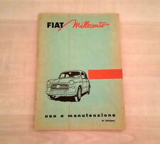Fiat 1100 103 E Libretto Manuale Uso e Manutenzione 1956 PERFETTO