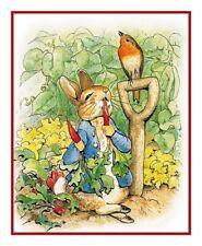 Peter Rabbit Digs Garden Beatrix Potter Counted Cross Stitch Chart Pattern