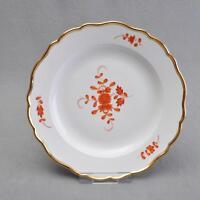Meissen Indische Malerei, rot, großer Teller mit breitem Goldrand, 1.Wahl, Knau