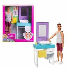 Barbie Ken Bathroom Set with Shaving Ken Doll and Sink Vanity Playset Toy NEW
