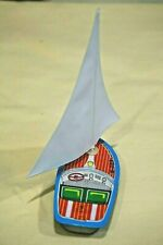 """Vintage Tin Toy Made in Japan New Sanko Metal 4"""" Mini Yacht Board Boat"""