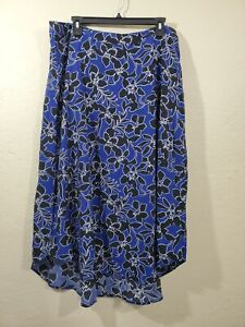 Tommy Bahama women's blue floral midi skirt size 14