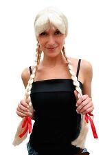 Perücke Damen blond hellblond lange geflochtene Zöpfe Alm Heidi Oktoberfest
