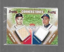 2002 Platinum EDDIE MATHEWS  CHIPPER JONES Cornerstones Jersey Bat BRAVES #d/25