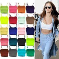 New Women's Ladies Plain Sleeveless Strappy Cami Bralet Bra Summer Crop Top Vest